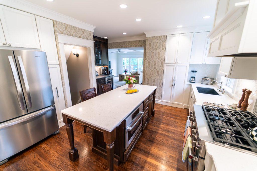 white modern kitchen with island